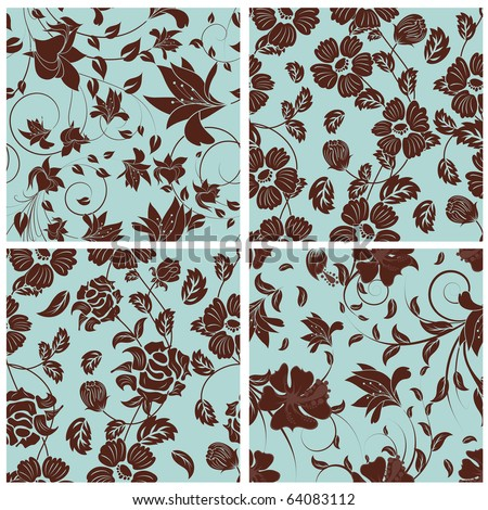 Seamless vector floral pattern. For easy making seamless pattern just drag all group into swatches bar, and use it for filling any contours. - stock vector