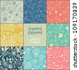 Seamless vector floral pattern set - stock photo