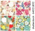 Seamless vector floral pattern set. For easy making seamless pattern just drag all group into swatches bar, and use it for filling any contours. - stock vector