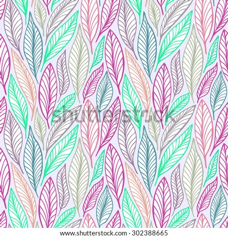 Seamless vector floral pattern with leaves motive - stock vector