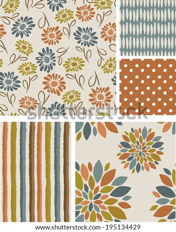 Seamless Vector Floral Patterns. Use as fills, or print off onto fabric to create unique items. - stock vector