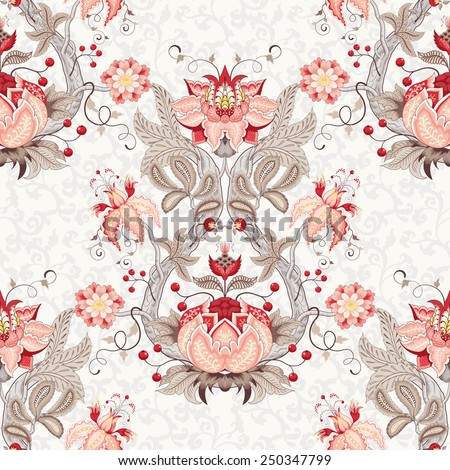Seamless vector floral vintage background. Damascus ornament with curved tree branch, fantastic flowers and leaves. The motives of the paintings of ancient Indian fabrics. Tree of Life collection - stock vector