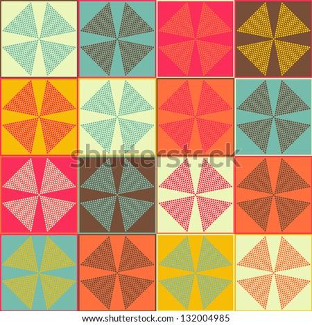 Seamless vector flower polka dot pattern background - stock vector