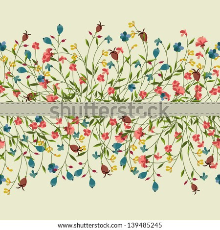 Seamless vector flowers - stock vector
