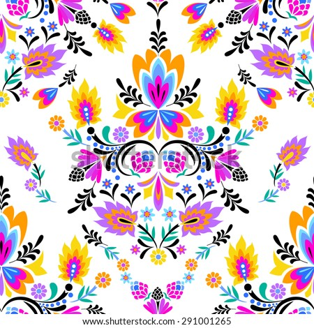seamless vector folk pattern. Mexican, Polish wzory style, with decorative flowers and swirls. vector cut out elements in symmetric layout.  - stock vector