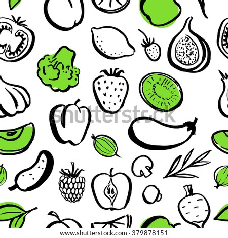 Seamless vector food pattern. Handwritten food elements with rough edges. Healthy food, farm, fresh, vegan, natural, product, bio. Green market. Ink brush. Fruits, berries and vegetables. Icon.