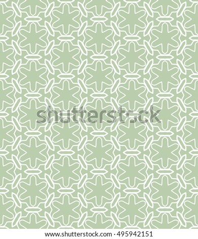 Seamless vector geometric background in arabian style. Islamic pattern, ethnic ornament. Endless hexagonal texture for wallpaper, banners, invitation cards. Green and white graphic lace background