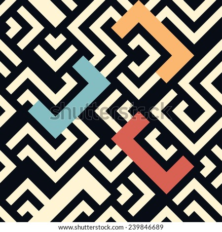 Seamless vector geometric stripe pattern background - stock vector