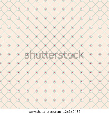 Seamless vector geometric tile heart pattern background - stock vector