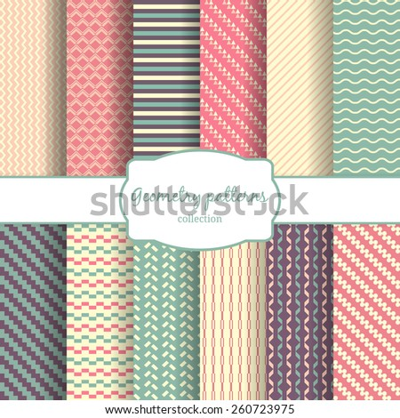Seamless vector geometric vertical, diagonal lines and rhombus and color pattern backgrounds - stock vector