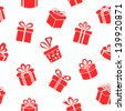 Seamless vector Gift pattern, red gift boxes on white background - stock vector