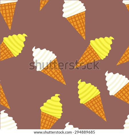 Seamless vector ice cream pattern. Desert elements background. Ice cream cone