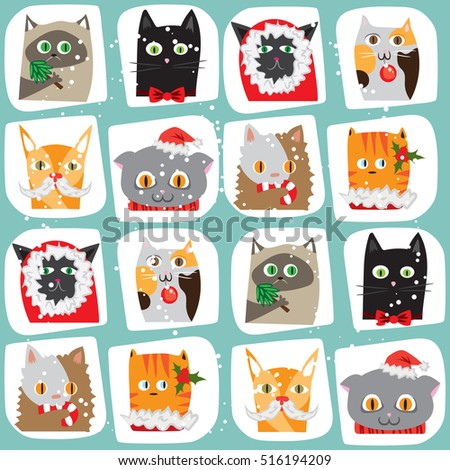 Seamless vector illustrated cartoon Christmas cats background. Cute animal tile pattern. New Year wrapping paper texture