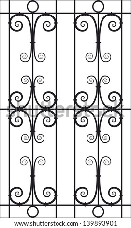 Seamless Vector Illustration of Wrought Iron Design Pattern - stock vector