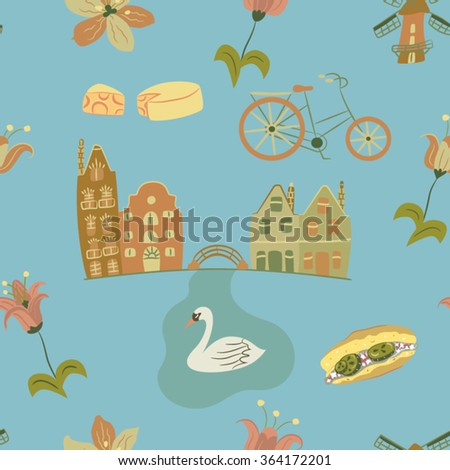 Seamless vector illustration pattern of Netherlands culture symbols in pastel  colors