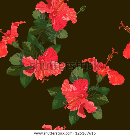 Seamless vector illustration with hibiscus - stock vector