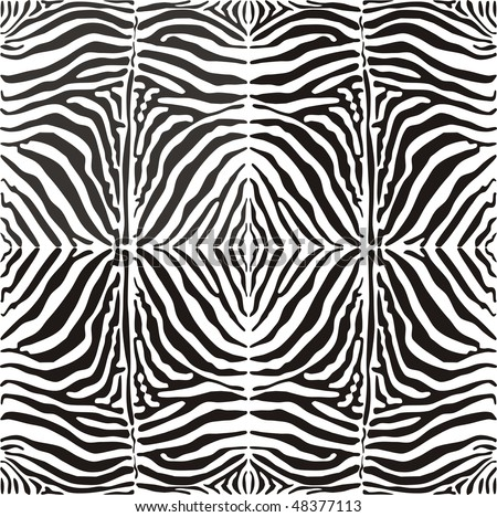 Seamless vector image of a zebra striped pattern, black and white illustration, suitable for printing and cutting plotter - stock vector
