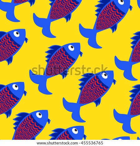 Seamless vector marine background.  Pattern with cute fishes