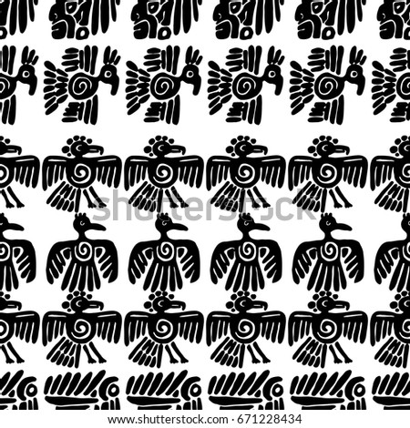 Seamless Vector Maya Pattern Black White Stock Vector 671228434