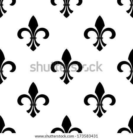Seamless vector of a fleur-de-lys motif in a repeating pattern, in black and white. - stock vector