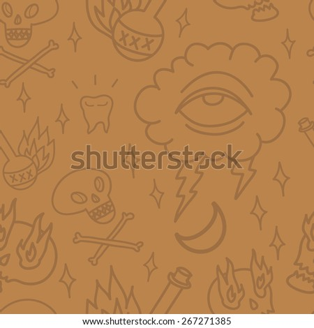 Seamless vector old-school tattoo pattern in colors of wood. Skulls and bones, teeth, eye and some flame rum. - stock vector