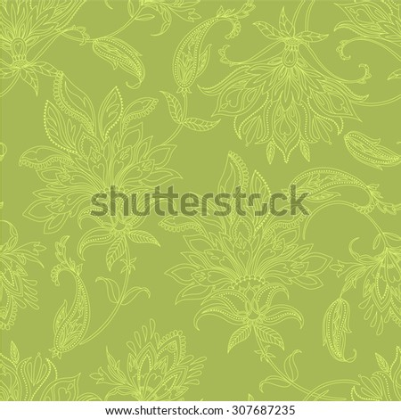 seamless vector paisley pattern with floral and decorative elements. gentle ink stroke illustration.  - stock vector