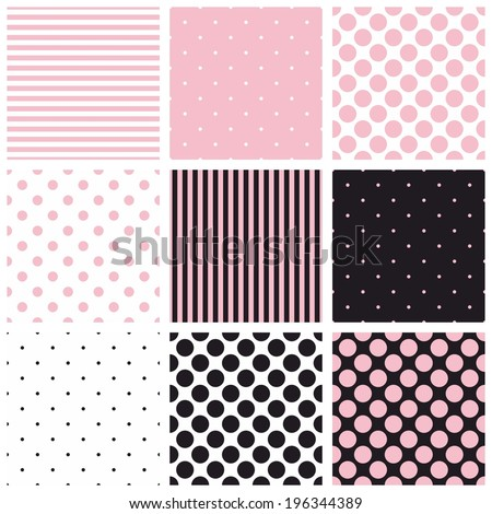 Seamless vector pastel pink, black and white pattern or background set with big and small polka dots and stripes - stock vector