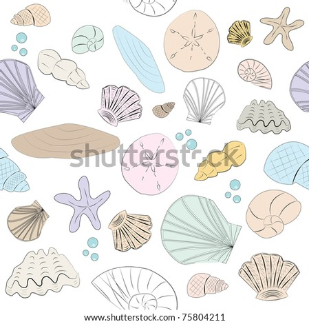 Seamless Vector Pastel Shell Background - stock vector