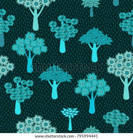 Seamless vector patern with decorative trees