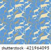 Seamless vector pattern about hunting with primitive figures. People, deers, cows, arrows. Pastel colors. - stock vector