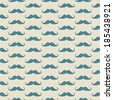 Seamless vector pattern, background or texture with blue curly vintage retro gentleman mustaches on yellow background. - stock vector