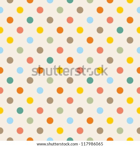 Seamless vector pattern, background or texture with colorful yellow, orange, pink, green and blue polka dots. For web design, baby shower card, party, scrapbooks. Sweet autumn or thanksgiving colors. - stock vector