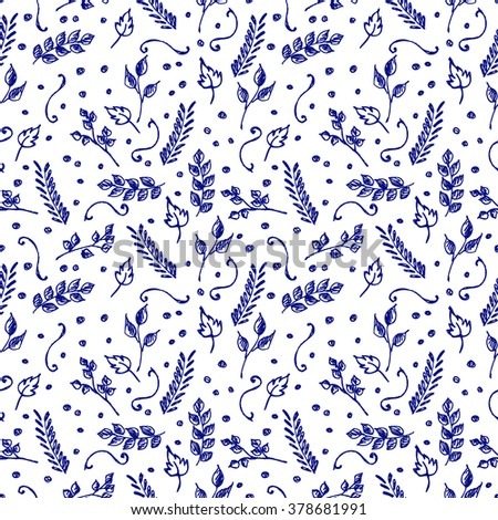Seamless vector pattern, background with branches and leaves on the white backdrop. Hand sketch drawing. Imitation of ink pencilling. Series of Hand Drawn Patterns.