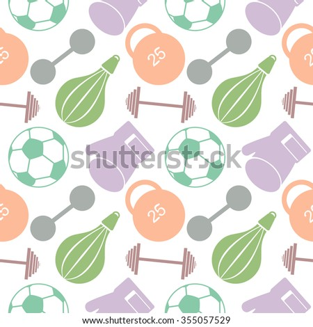 Seamless vector pattern.  Background with colorful closeup sports equipment. Soccer ball, punching bag, gloves, barbells, dumbbells and weight. - stock vector