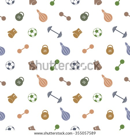 Seamless vector pattern.  Background with colorful sports equipment. Soccer ball, punching bag, gloves, barbells, dumbbells and weight. - stock vector