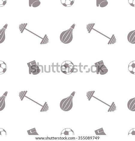 Seamless vector pattern.  Background with grey sports equipment. Soccer ball, punching bag, gloves, barbells on the white backdrop - stock vector