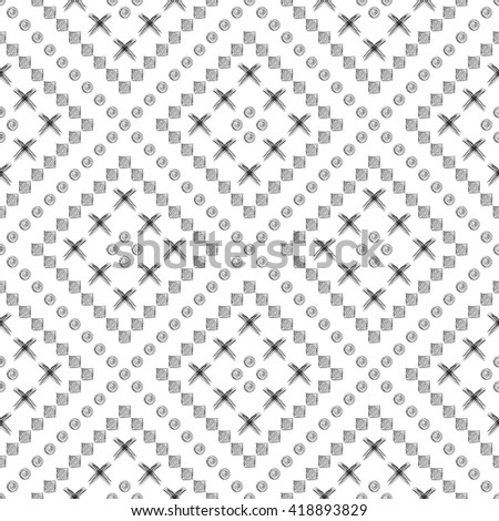 Seamless vector pattern. Black and white geometrical background with hand drawn circles, cross and lines. Simple design.