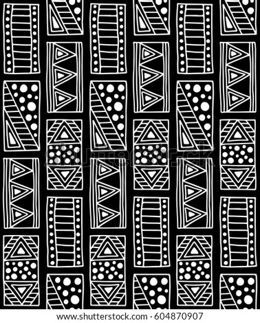 Black and white geometrical background with hand drawn decorative tribal elements