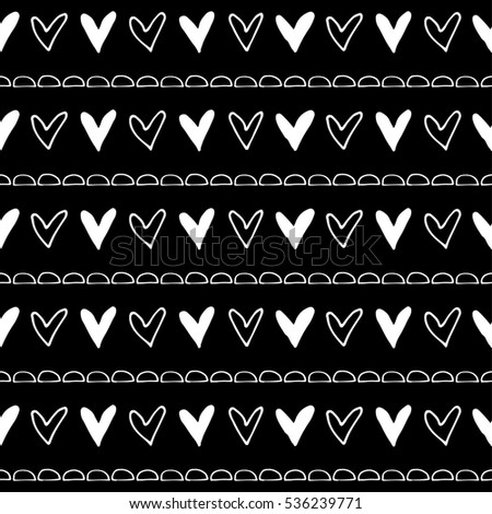 Seamless vector pattern. Black and white geometrical background with hand drawn little decorative elements.Simple design. Graphic vector illustration. Template for wrapping, background wallpaper