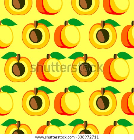 Seamless vector pattern,  bright  fruits symmetrical background with apricots, whole and half over light backdrop. Series of fruits and ingredients for cooking. - stock vector