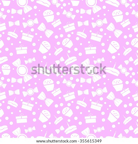 Seamless vector pattern. Chaotic pastel background with white sweets and gifts on the pink backdrop - stock vector