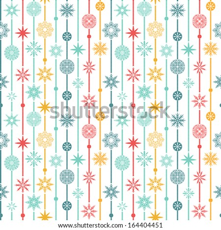Seamless vector pattern: Christmas garland on a white background - stock vector
