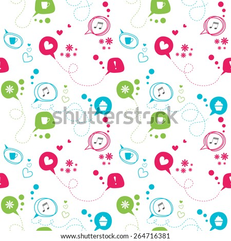 Seamless vector pattern.  Colorful speech bubbles: love, tea, music, cake, think, coffee on white background