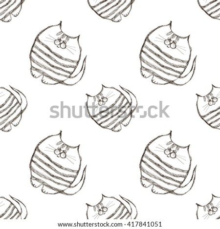 Seamless vector pattern. Cute black and white background with hand drawn cats. Series of Cartoon, Doodle, Sketch and Scribble Seamless Vector Patterns. - stock vector