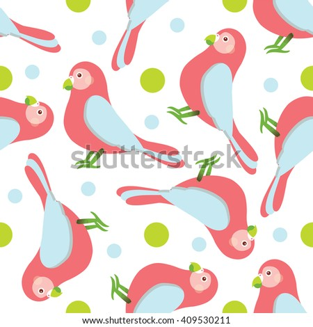 Seamless vector pattern. Festive bright design, illustration of magic cartoon parrots, birds with rounds. Perfect for textile, backgrounds, texture, cotton, web. Blue, pink, green, white - stock vector