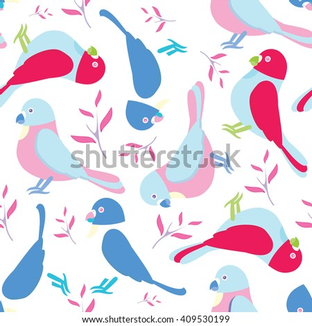 Seamless vector pattern. Festive childish design, illustration of magic cartoon parrots, birds with branch and leaves. Perfect for textile, backgrounds, cotton, web. Pink, blue, beige, magenta, green - stock vector