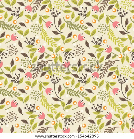 Seamless vector pattern. Floral background - stock vector
