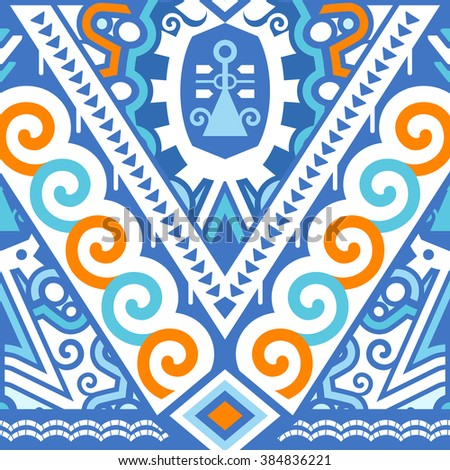 Seamless Vector Pattern for Textile Design. Mix of Stripes, Scroll and Chevron Shapes. Blue and Orange Colors on White - stock vector