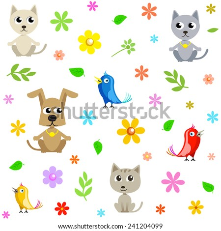 Seamless vector pattern: funny mix of cats, dogs, birds and flowers