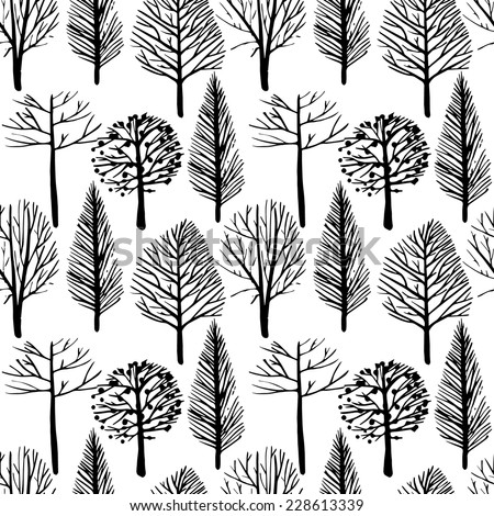 Seamless vector pattern in a linear style trees. Trees without leaves, delicate branches, black and white background. - stock vector